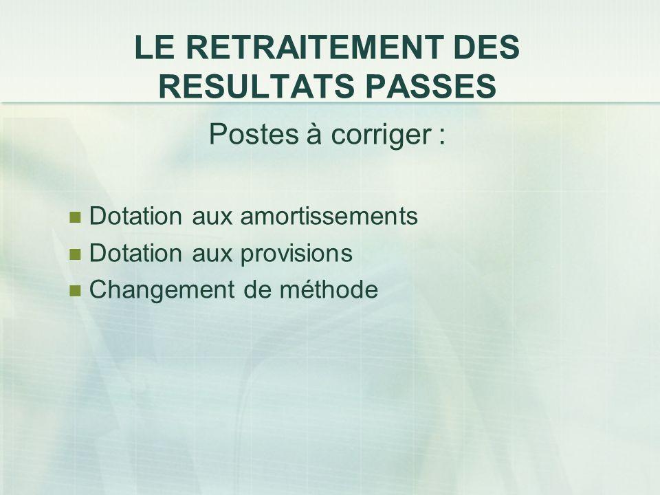 LE RETRAITEMENT DES RESULTATS PASSES Postes à corriger : Dotation aux amortissements Dotation aux provisions Changement de méthode
