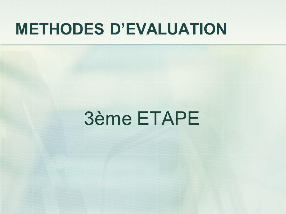 METHODES DEVALUATION 3ème ETAPE