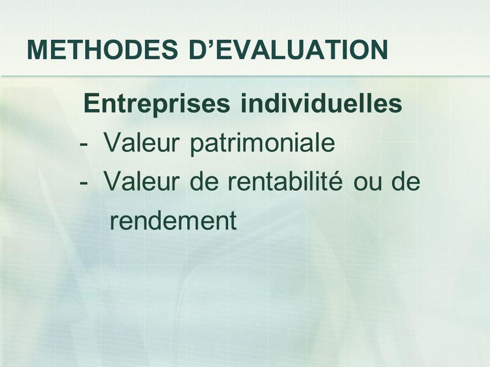 METHODES DEVALUATION Entreprises individuelles - Valeur patrimoniale - Valeur de rentabilité ou de rendement