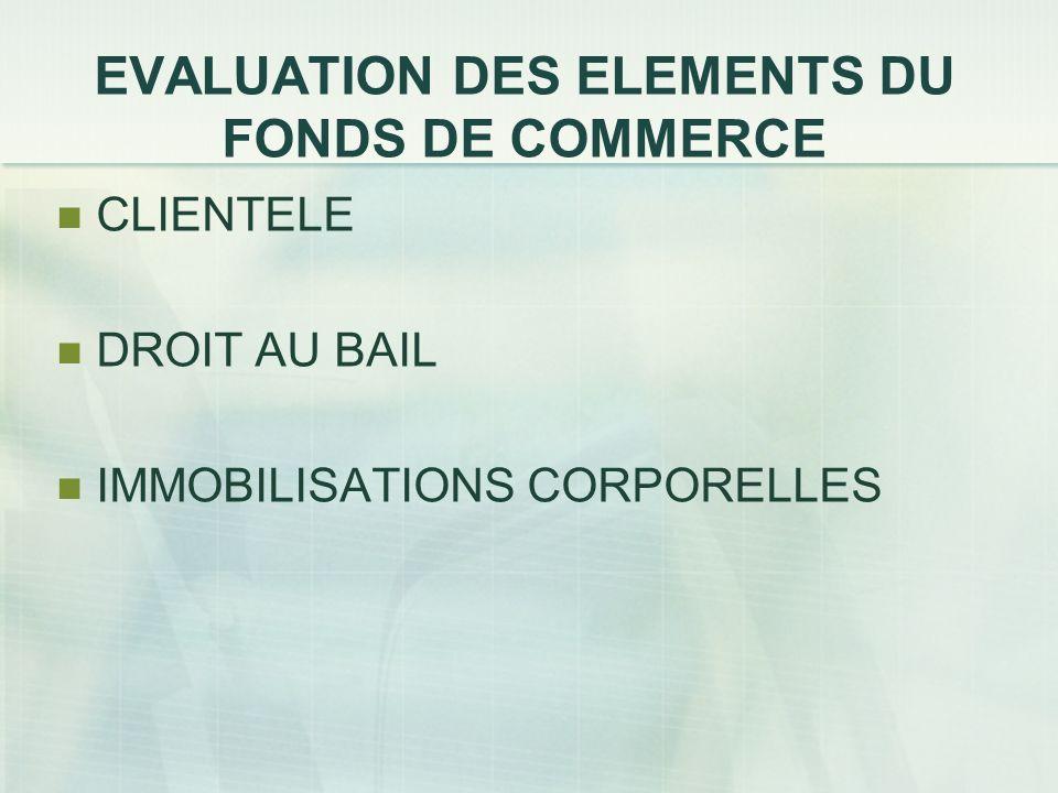 EVALUATION DES ELEMENTS DU FONDS DE COMMERCE CLIENTELE DROIT AU BAIL IMMOBILISATIONS CORPORELLES