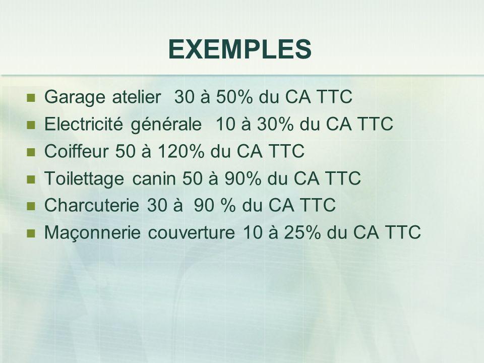 EXEMPLES Garage atelier 30 à 50% du CA TTC Electricité générale 10 à 30% du CA TTC Coiffeur 50 à 120% du CA TTC Toilettage canin 50 à 90% du CA TTC Ch
