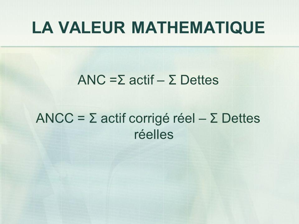 LA VALEUR MATHEMATIQUE ANC =Σ actif – Σ Dettes ANCC = Σ actif corrigé réel – Σ Dettes réelles