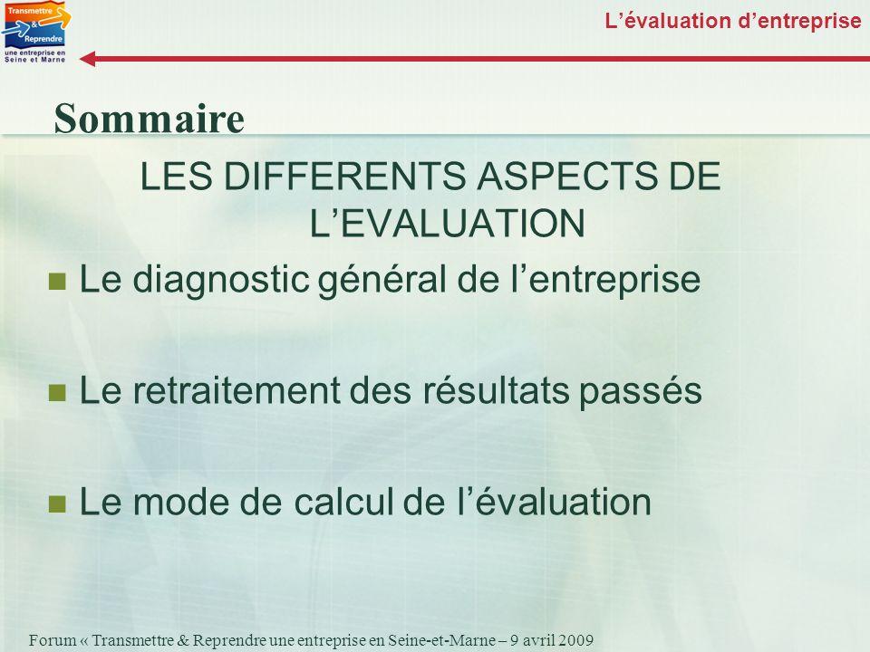 Forum « Transmettre & Reprendre une entreprise en Seine-et-Marne – 9 avril 2009 Lévaluation dentreprise LES DIFFERENTS ASPECTS DE LEVALUATION Le diagn