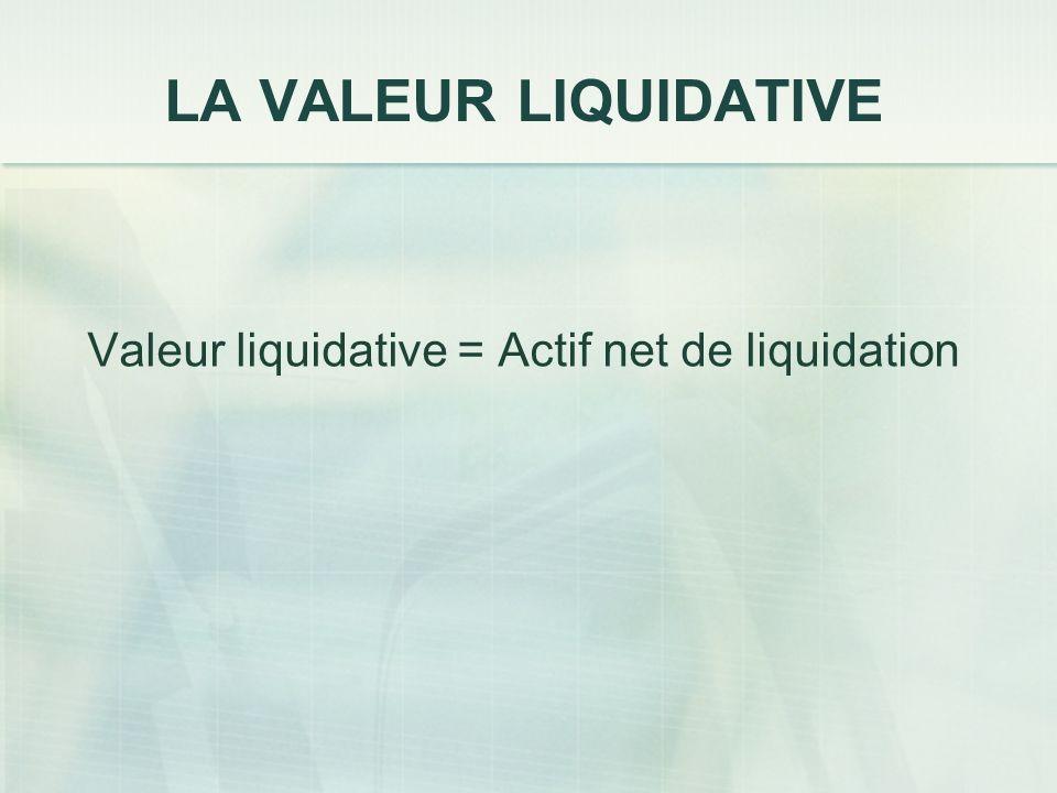LA VALEUR LIQUIDATIVE Valeur liquidative = Actif net de liquidation