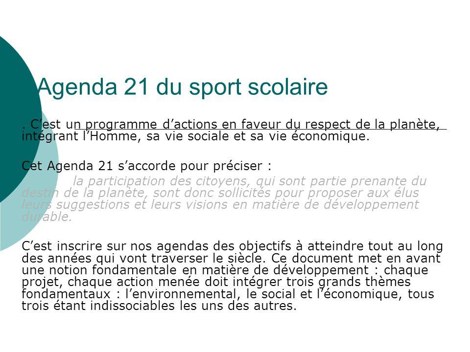 Agenda 21 du sport scolaire. Cest un programme dactions en faveur du respect de la planète, intégrant lHomme, sa vie sociale et sa vie économique. Cet