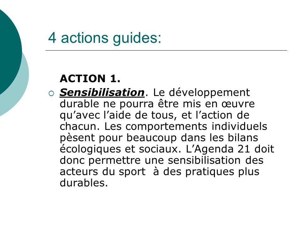 4 actions guides: ACTION 1. Sensibilisation. Le développement durable ne pourra être mis en œuvre quavec laide de tous, et laction de chacun. Les comp