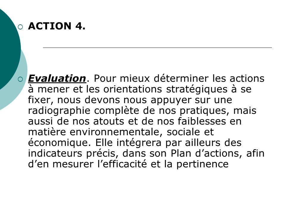 ACTION 4. Evaluation. Pour mieux déterminer les actions à mener et les orientations stratégiques à se fixer, nous devons nous appuyer sur une radiogra
