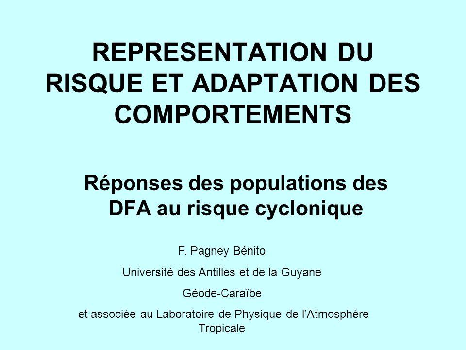 REPRESENTATION DU RISQUE ET ADAPTATION DES COMPORTEMENTS Réponses des populations des DFA au risque cyclonique F. Pagney Bénito Université des Antille