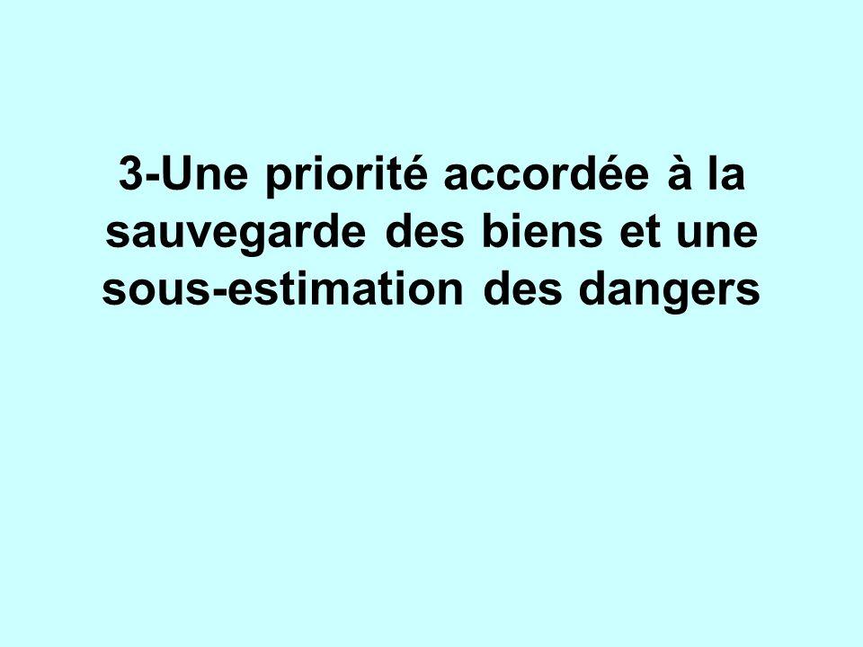3-Une priorité accordée à la sauvegarde des biens et une sous-estimation des dangers