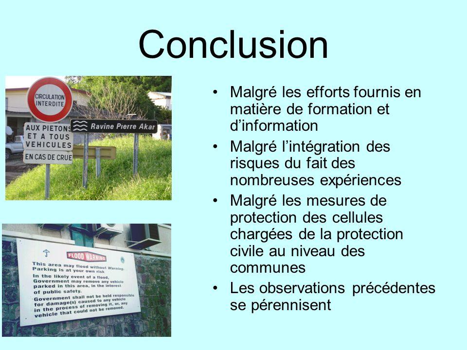 Conclusion Malgré les efforts fournis en matière de formation et dinformation Malgré lintégration des risques du fait des nombreuses expériences Malgr