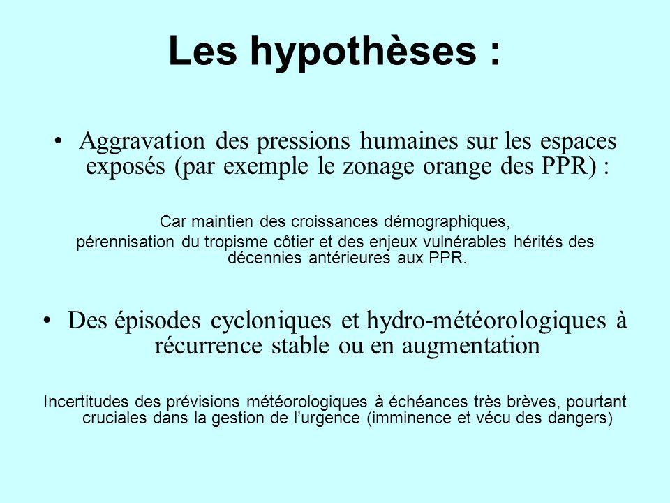 Les hypothèses : Aggravation des pressions humaines sur les espaces exposés (par exemple le zonage orange des PPR) : Car maintien des croissances démo