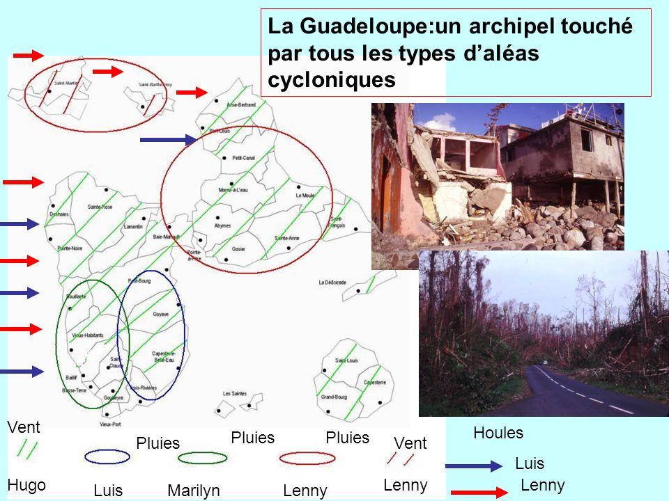 Luis Marilyn LennyHugo Lenny LuisMarilynLenny Vent Pluies La Guadeloupe:un archipel touché par tous les types daléas cycloniques Luis Lenny Houles
