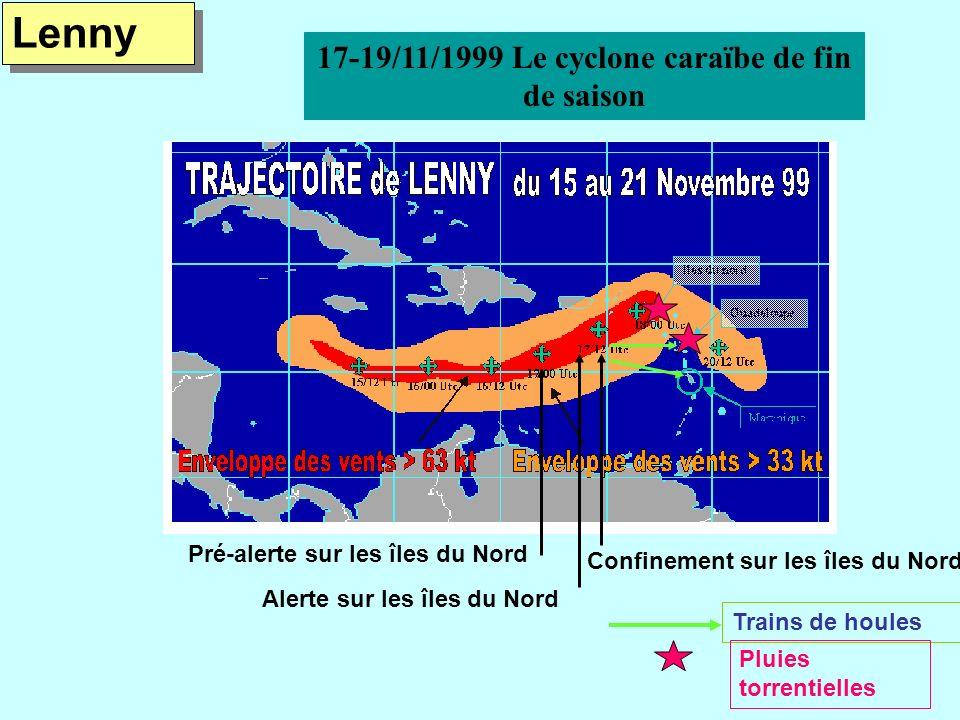 Pré-alerte sur les îles du Nord Alerte sur les îles du Nord Confinement sur les îles du Nord Trains de houles Pluies torrentielles Lenny 17-19/11/1999