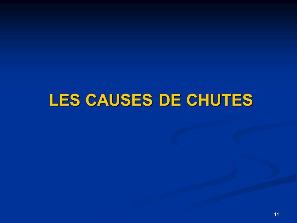 11 LES CAUSES DE CHUTES LES CAUSES DE CHUTES