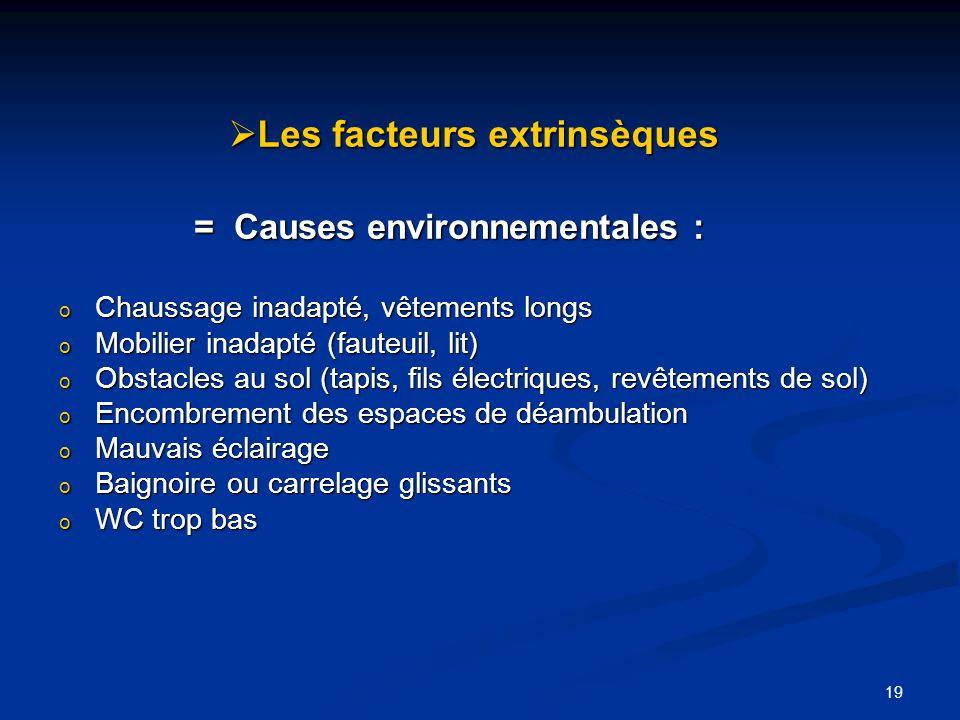 19 Les facteurs extrinsèques Les facteurs extrinsèques = Causes environnementales : = Causes environnementales : o Chaussage inadapté, vêtements longs
