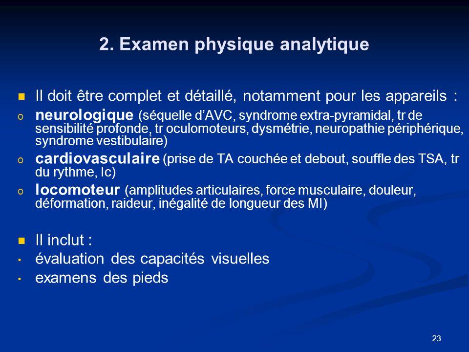 23 2. Examen physique analytique Il doit être complet et détaillé, notamment pour les appareils : o o neurologique (séquelle dAVC, syndrome extra-pyra