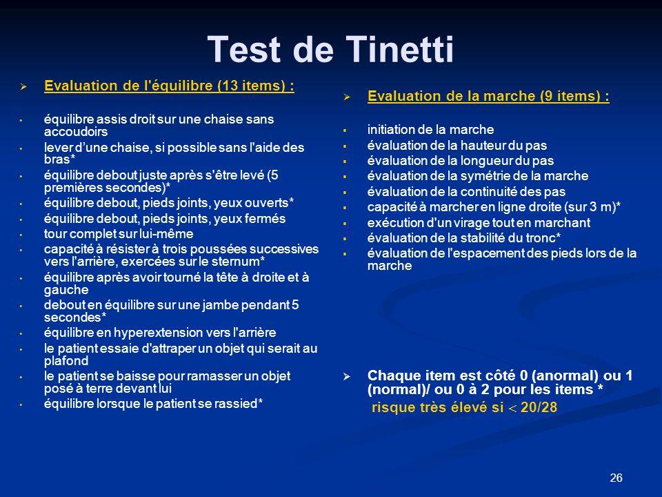 26 Test de Tinetti Evaluation de l'équilibre (13 items) : équilibre assis droit sur une chaise sans accoudoirs lever dune chaise, si possible sans l'a