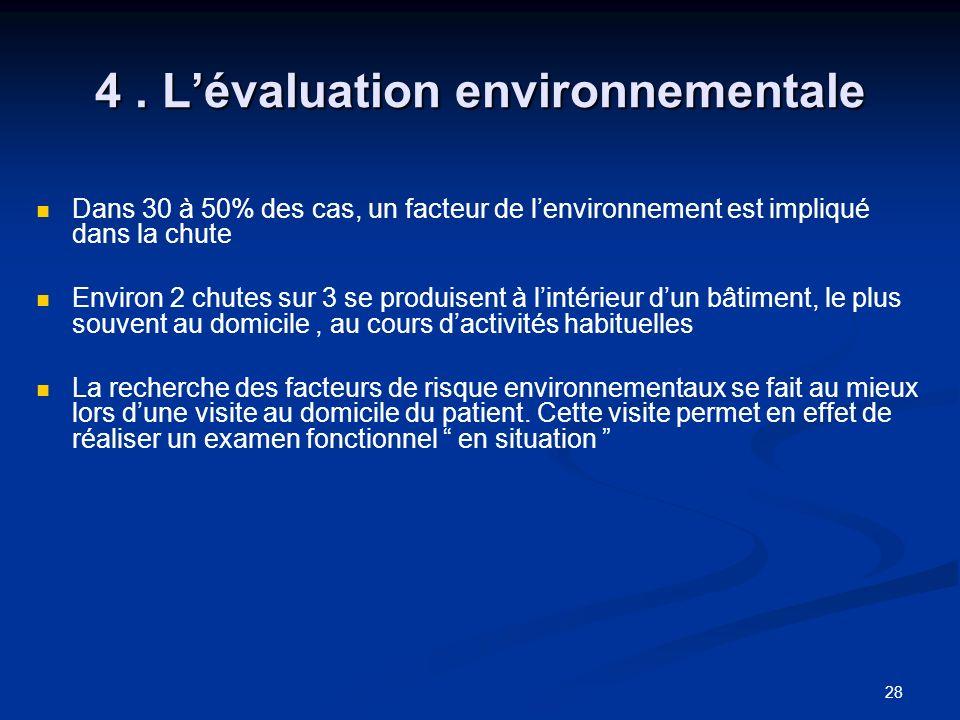 28 4. Lévaluation environnementale Dans 30 à 50% des cas, un facteur de lenvironnement est impliqué dans la chute Environ 2 chutes sur 3 se produisent