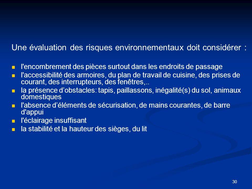 30 Une évaluation des risques environnementaux doit considérer : l'encombrement des pièces surtout dans les endroits de passage l'accessibilité des ar