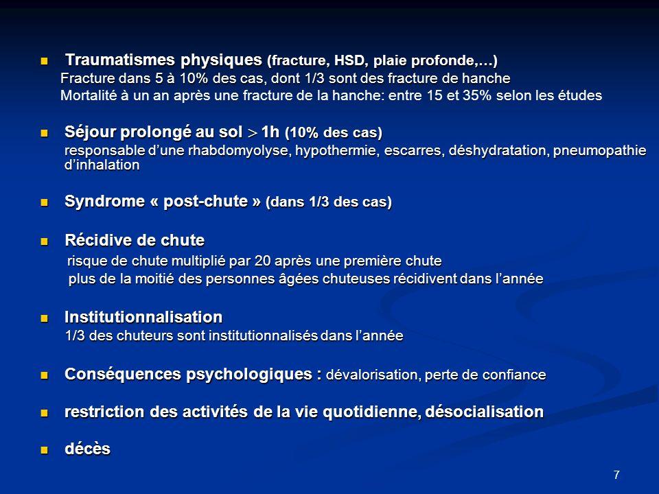 7 Traumatismes physiques (fracture, HSD, plaie profonde,…) Traumatismes physiques (fracture, HSD, plaie profonde,…) Fracture dans 5 à 10% des cas, don