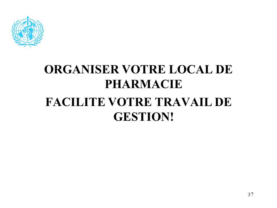 37 ORGANISER VOTRE LOCAL DE PHARMACIE FACILITE VOTRE TRAVAIL DE GESTION!
