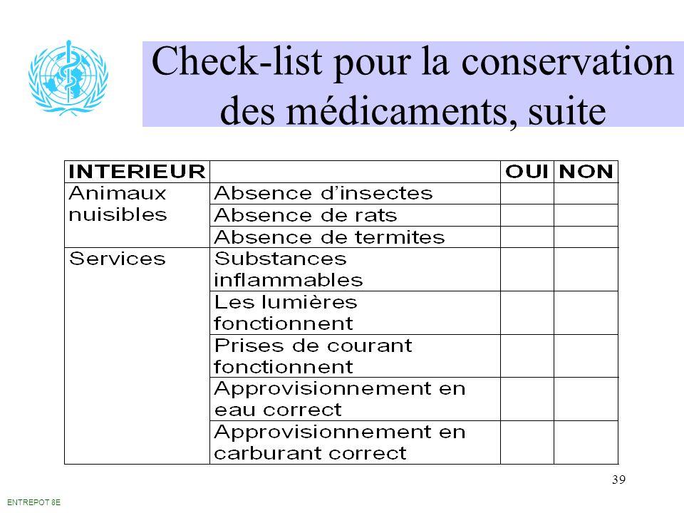 39 Check-list pour la conservation des médicaments, suite ENTREPOT 8E
