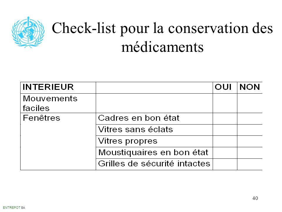 40 Check-list pour la conservation des médicaments ENTREPOT 8A
