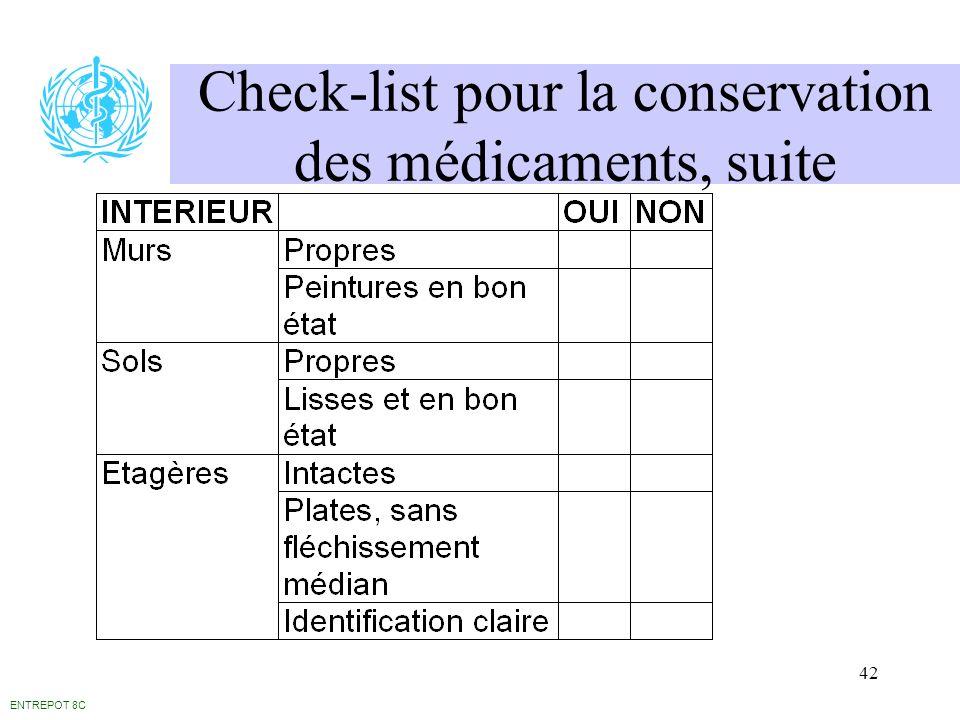 42 Check-list pour la conservation des médicaments, suite ENTREPOT 8C