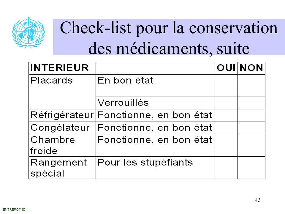 43 Check-list pour la conservation des médicaments, suite ENTREPOT 8D