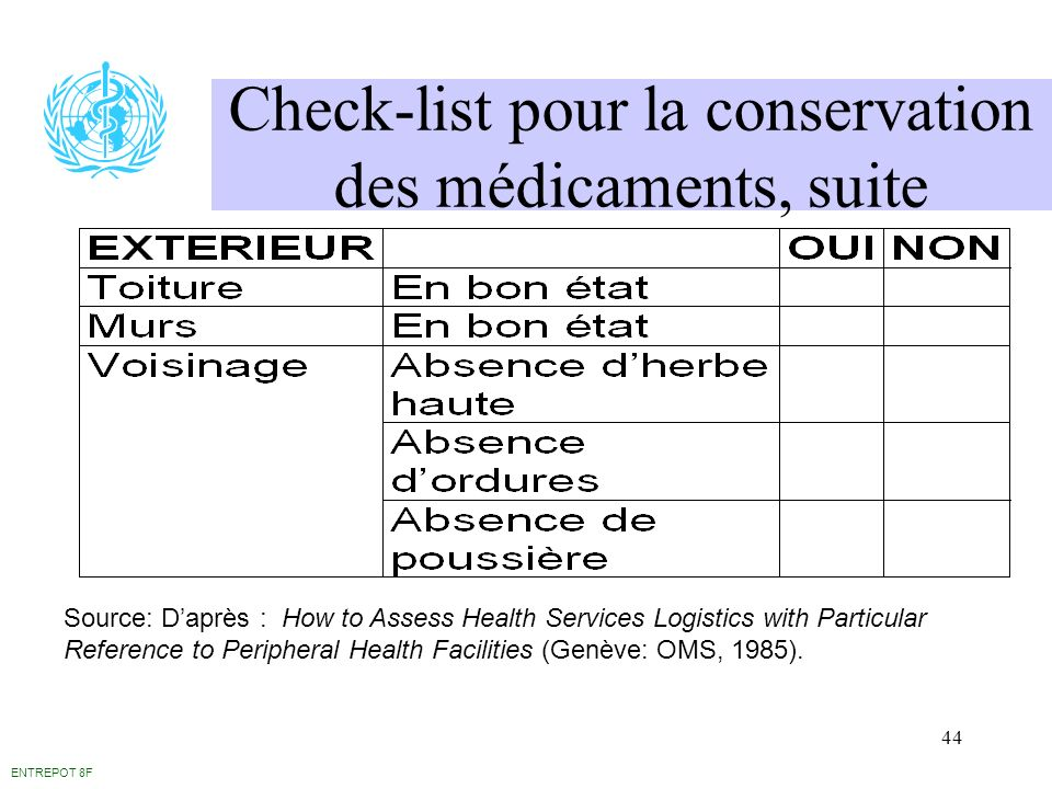 44 Check-list pour la conservation des médicaments, suite ENTREPOT 8F Source: Daprès : How to Assess Health Services Logistics with Particular Referen