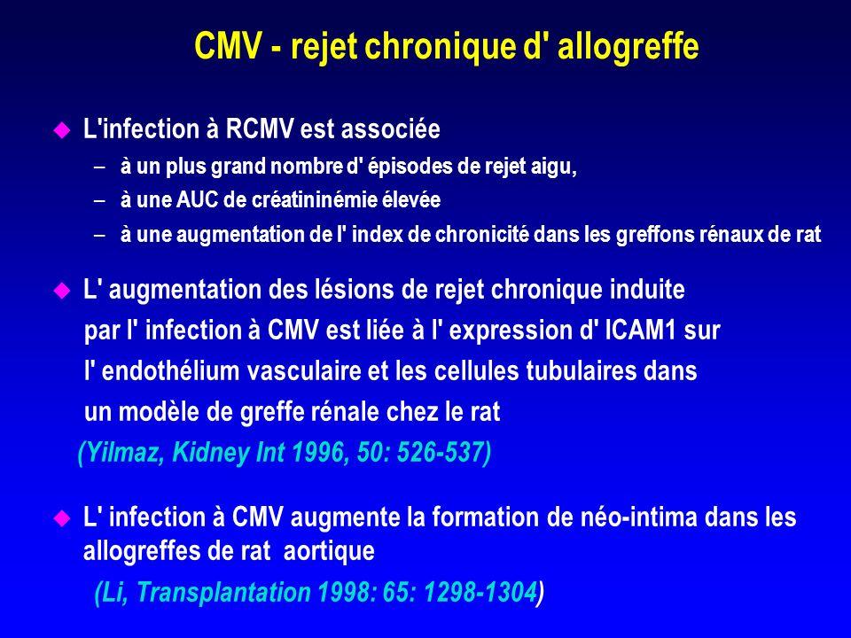 La vasculopathie d allogreffe cardiaque induite par le CMV est prévenue par la prophylaxie par ganciclovir chez le rat Score moyen% de vx avec VAC Epaisseur intima Allogreffe 0.68 +/- 0.1029 +/- 4 Allogreffe+RCMV 1.30 +/- 0.12 58 +/- 4 Allogreffe+0.68 +/- 0.13 29 +/- 5 RCMV+DHPG ( Lemstrom, Circulation 1997; 95: 2614-2616)