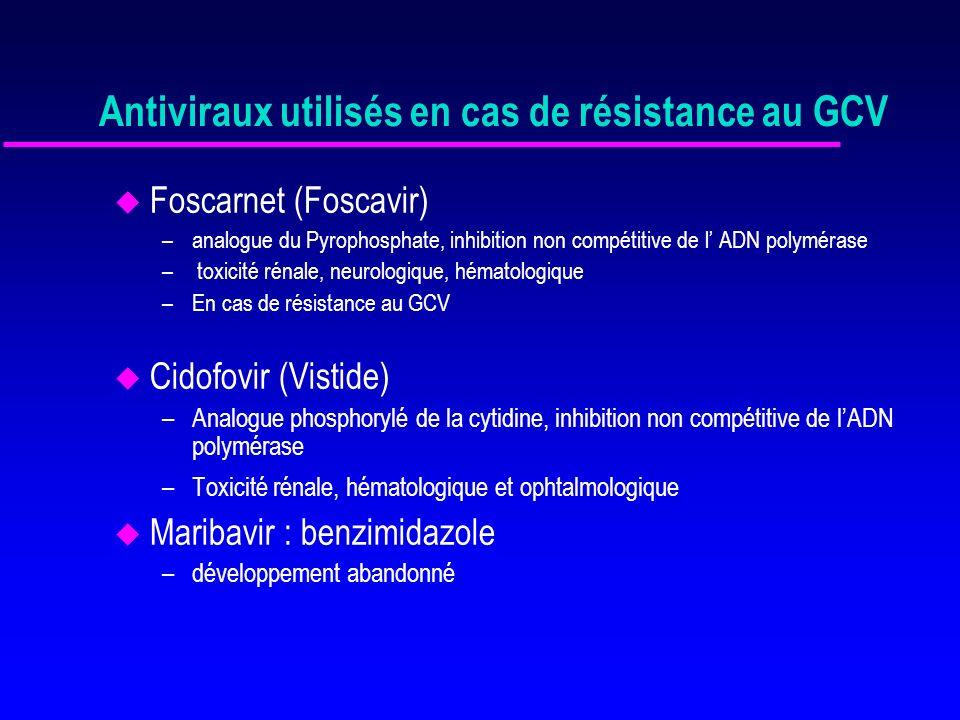 Prévention de linfection à CMV 1) Prophylaxie pour tout le monde – effets secondaires des antiviraux (leucopénie, troubles neurologiques) – risque de résistance – favorise la latence – surcoût : » prix des antiviraux 2) Patients à risque – d infection à CMV (R+, mauvaise compatibilité HLA B-DR, rein- pancréas) – de maladie sévère (R-D+, trt rejet cortico-résistant)