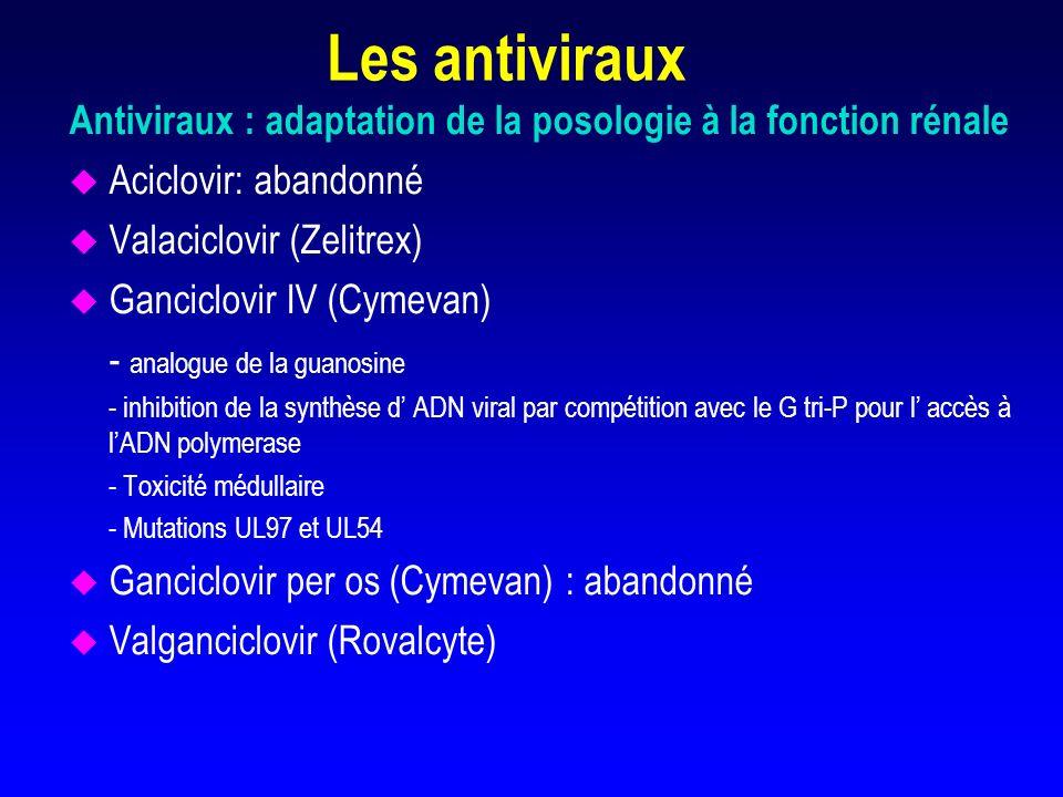 META-ANALYSE SUR LA PROPHYLAXIE ANTIVIRALE EN TRANSPLANTATION RENALE ( ACV ou GCV IV) u Effet bénéfique sur la diminution de l infection à CMV (RR= 0.74) et de la maladie à CMV (RR=0.50) u Pas d effet significatif sur la perte du greffon ou le décès (RR=0.80) ni sur le rejet aigu (RR=1.03) u Coût de la prophylaxie à comparer au traitement pré- emptif (Couchoud, Transplantation, 1998, 65, 641-647)