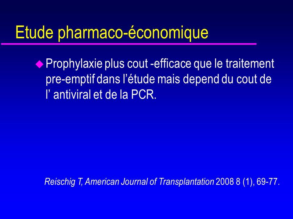 3 études randomisées : traitement prophylactique vs trt préemptif u Khoury, AJT 2006, 2134-2143 –Prophylaxie : (n=49) : VALGanciclovir CV 900 mg pdt 100j –Trt préémptif :n=49) : VALGanciclovir 900 mg x2 pdt 21 jours (négativation ADN) Si ADN CMV > 2000 copies /ml sur sang total sur > 1 échantillon u Reischig T, AJT 2008,8 -69-77 -Prophylaxie : (n=34): Valaciclovir 8g /j pdt 3 mois -Trt pre emptif : : (n=36): Valganciclovir 1800 mg 14 jours si ADN CMV > 2000 copies /ml sang total u Kliem V, AJT 2008,8: 975-983 - prophylaxie (n=74) : Ganciclovir oral 3g /j pdt 3 mois - trt preemptif (n=74) : GCV IV 10 mg/kg/j pour 10 jours si ADN CMV > 400 Copies/ml plasmatique par Amplicor ( ADN < 100 ) Puis prophylaxie secondaire par GCV 3g/j pdt 14 j