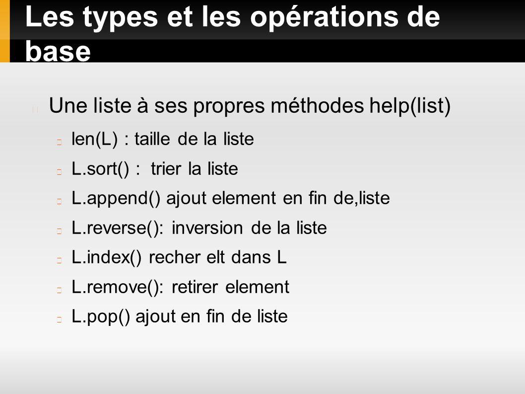 Les types et les opérations de base Une liste à ses propres méthodes help(list) len(L) : taille de la liste L.sort() : trier la liste L.append() ajout