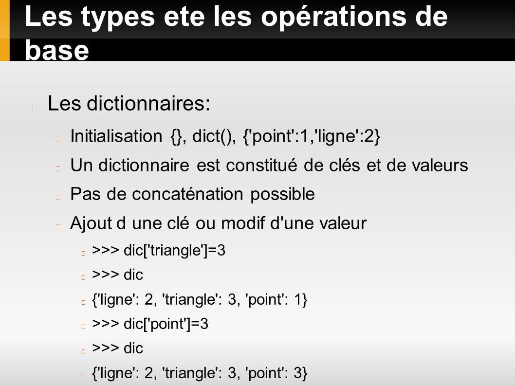 Les types ete les opérations de base Les dictionnaires: Initialisation {}, dict(), {'point':1,'ligne':2} Un dictionnaire est constitué de clés et de v