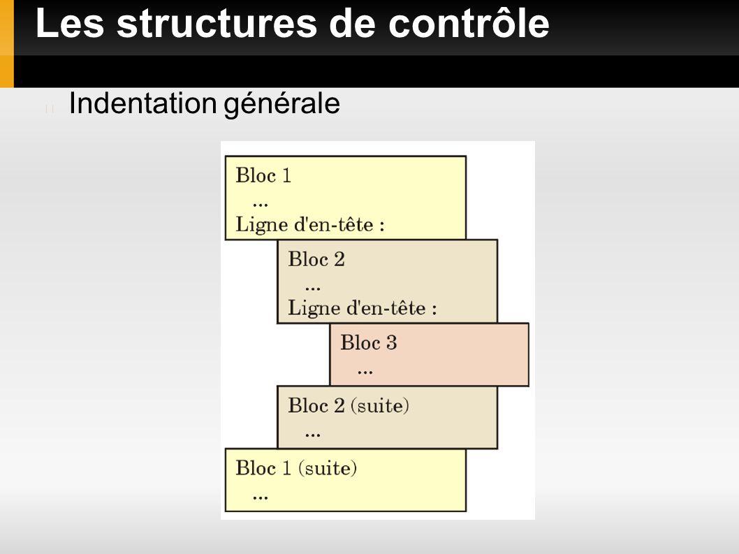 Les structures de contrôle Indentation générale