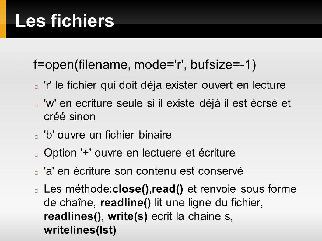 Les fichiers f=open(filename, mode='r', bufsize=-1) 'r' le fichier qui doit déja exister ouvert en lecture 'w' en ecriture seule si il existe déjà il