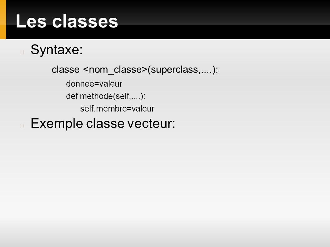 Les classes Syntaxe: classe (superclass,....): donnee=valeur def methode(self,....): self.membre=valeur Exemple classe vecteur: