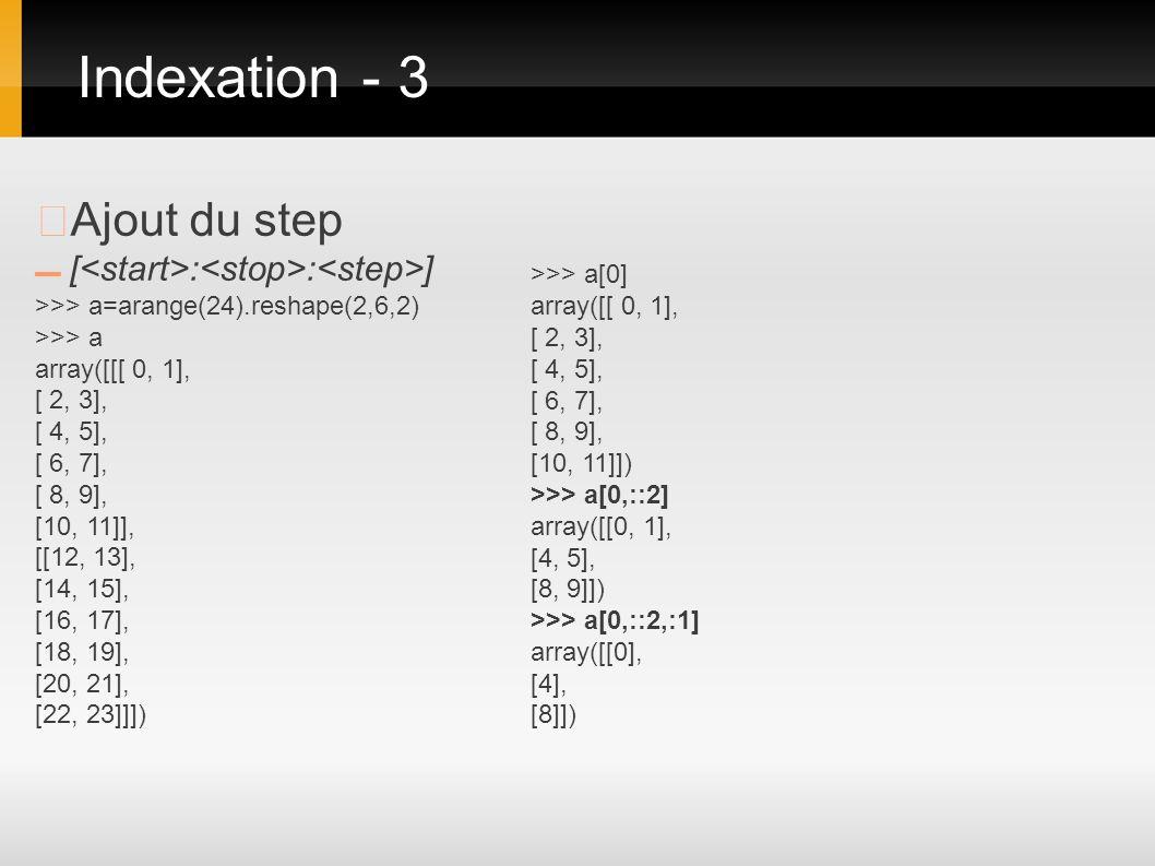 Ajout du step [ : : ] >>> a=arange(24).reshape(2,6,2) >>> a array([[[ 0, 1], [ 2, 3], [ 4, 5], [ 6, 7], [ 8, 9], [10, 11]], [[12, 13], [14, 15], [16,