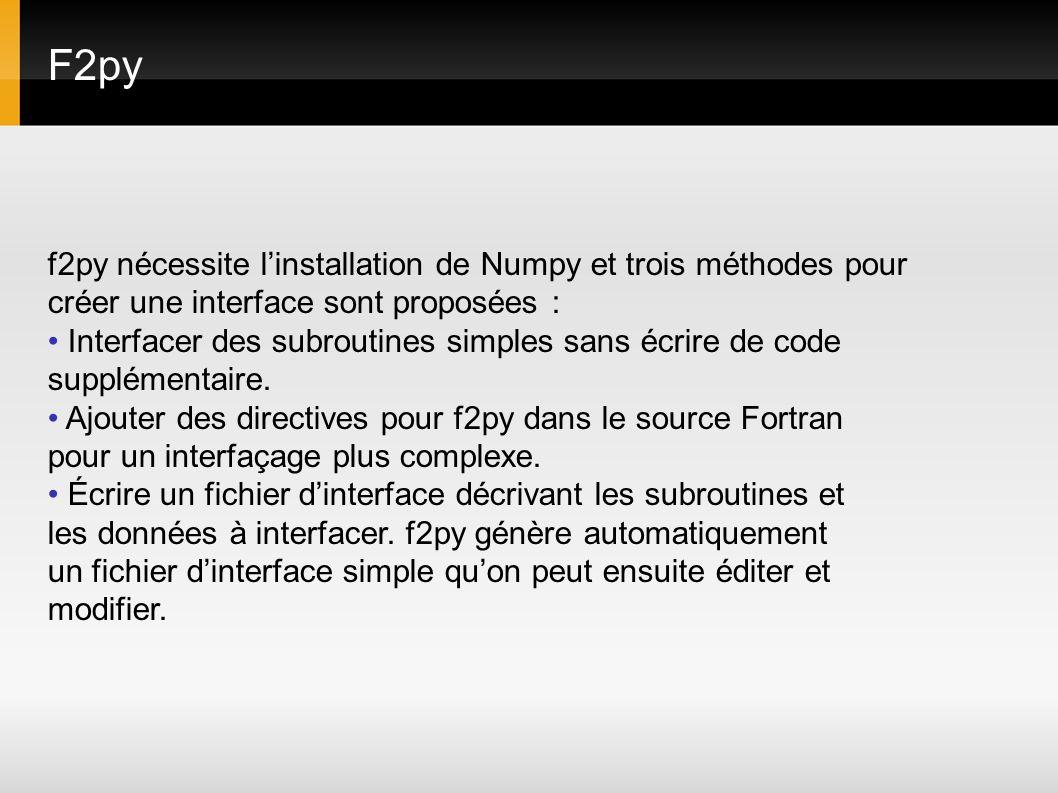 F2py f2py nécessite linstallation de Numpy et trois méthodes pour créer une interface sont proposées : Interfacer des subroutines simples sans écrire