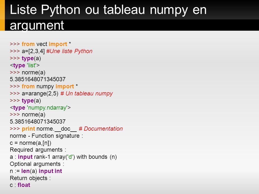Liste Python ou tableau numpy en argument >>> from vect import * >>> a=[2,3,4] #Une liste Python >>> type(a) >>> norme(a) 5.3851648071345037 >>> from
