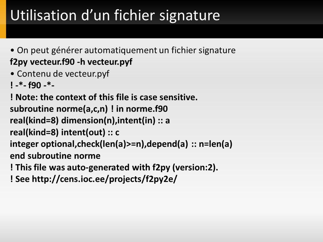 Utilisation dun fichier signature On peut générer automatiquement un fichier signature f2py vecteur.f90 -h vecteur.pyf Contenu de vecteur.pyf ! -*- f9