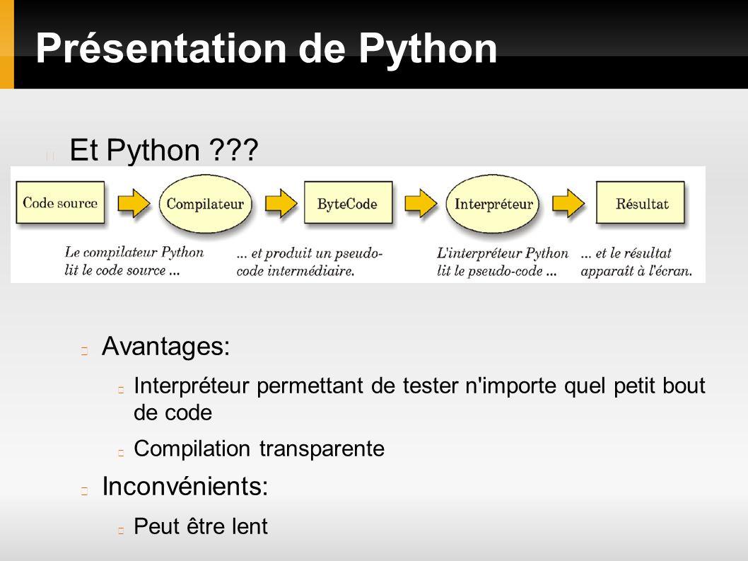Présentation de Python Les versions de Python Il existe 2 version de Python: 2.7 et 3.1 La version 3.x n est pas une simple amélioration ou extension de 2.7 Portage pas totalement fini de 3.1 L Interpréteur 2 choix entre python ou Ipython Quelques options -c: execute la commande python entrée après -i passe en mode intéractif apres avoir exécuté un script ou une commande -d: passe en mode debug