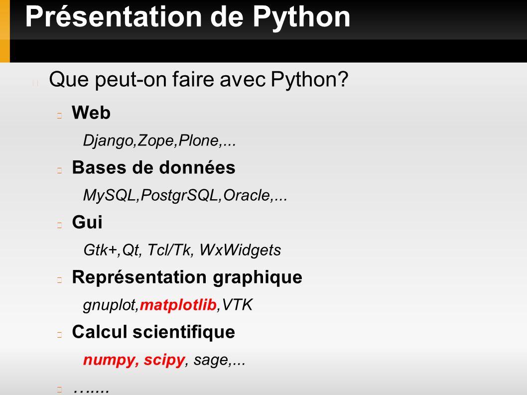 Présentation de Python Pourquoi Python pour le calcul Peut être appris en quelques jours Permet de faire des tests rapides Alternative à Matlab, Octave, Scilab Parallélisation Multiplateforme Facilement interfaçable avec des librairies(Fortran, C/C++) de calcul scientifique
