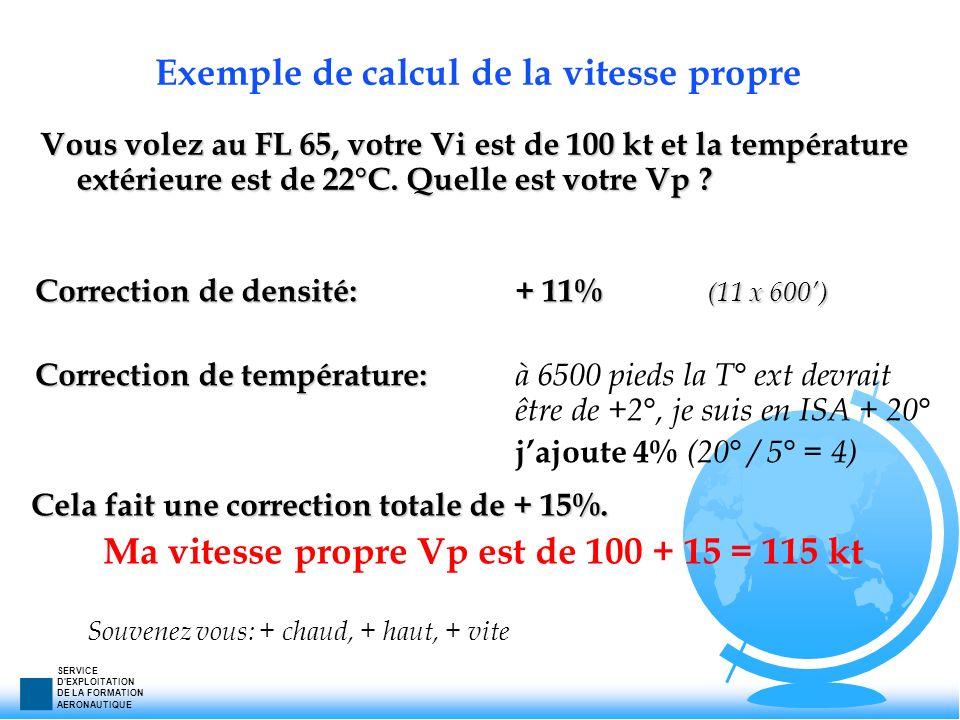 SERVICE D'EXPLOITATION DE LA FORMATION AERONAUTIQUE Exemple de calcul de la vitesse propre Vous volez au FL 65, votre Vi est de 100 kt et la températu