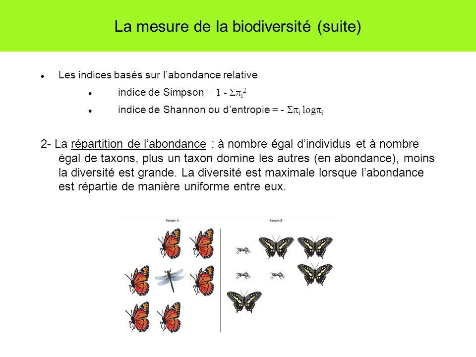 La mesure de la biodiversité (suite) Les indices basés sur labondance relative indice de Simpson = 1 - i 2 indice de Shannon ou dentropie = - i log i 2- La répartition de labondance : à nombre égal dindividus et à nombre égal de taxons, plus un taxon domine les autres (en abondance), moins la diversité est grande.