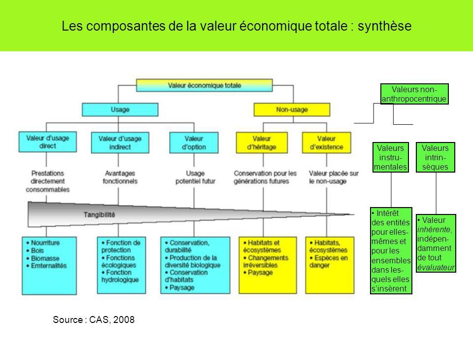 Les composantes de la valeur économique totale : synthèse Source : CAS, 2008 Valeurs non- anthropocentrique Valeurs instru- mentales Valeurs intrin- sèques Intérêt des entités pour elles- mêmes et pour les ensembles dans les- quels elles sinsèrent Valeur inhérente, indépen- damment de tout évaluateur