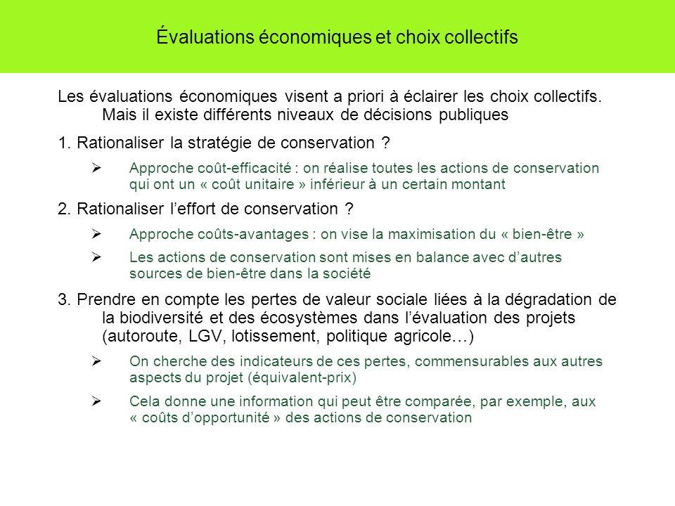 Évaluations économiques et choix collectifs Les évaluations économiques visent a priori à éclairer les choix collectifs.