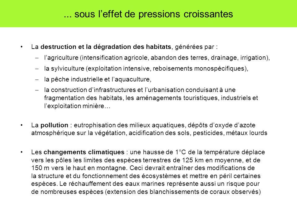 ... sous leffet de pressions croissantes La destruction et la dégradation des habitats, générées par : – lagriculture (intensification agricole, aband